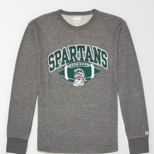 Tailgate Men's MSU Spartans Thermal Shirt Salt And Pepper XL