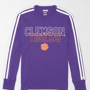 Tailgate Men's Clemson Tigers Long Sleeve T-Shirt Prep Purple M