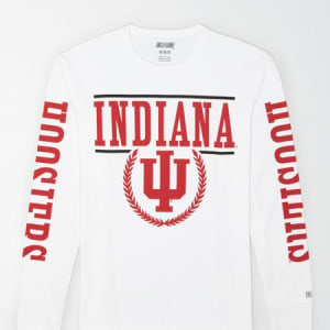 Tailgate Men's Indiana Hoosiers Long-Sleeve T-Shirt White XS