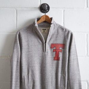 Tailgate Men's Texas Tech Half-Zip Fleece Popover Gray Heather L
