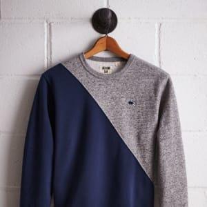Tailgate Men's PSU Diagonal Colorblock Sweatshirt Blue XS
