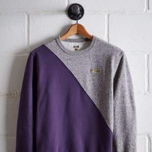 Tailgate Men's LSU Diagonal Colorblock Sweatshirt Purple L