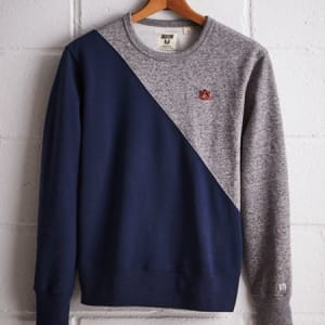Tailgate Men's Auburn Diagonal Colorblock Sweatshirt Blue XXL