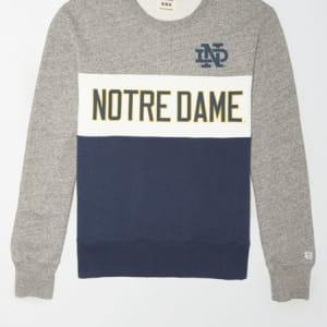 Tailgate Men's Notre Dame Colorblock Fleece Sweatshirt Gray Heather S