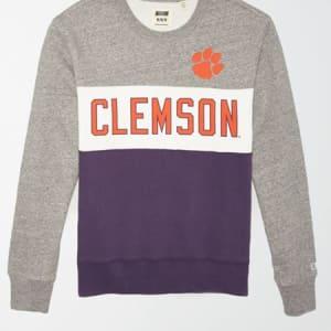 Tailgate Men's Clemson Tigers Colorblock Fleece Sweatshirt Gray Heather XXL