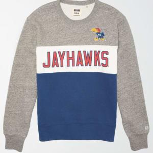 Tailgate Men's Kansas Jayhawks Colorblock Fleece Sweatshirt Gray Heather S