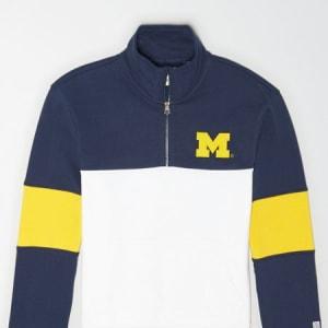 Tailgate Men's Michigan Wolverines Quarter-Zip Sweatshirt Blue XS