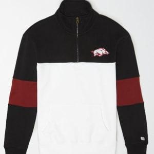 Tailgate Men's Arkansas Razorbacks Quarter-Zip Sweatshirt Bold Black XS