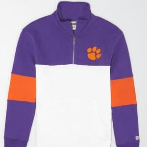 Tailgate Men's Clemson Tigers Quarter-Zip Sweatshirt Prep Purple S