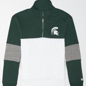Tailgate Men's Michigan State Spartans Quarter-Zip Sweatshirt Leaf Green S