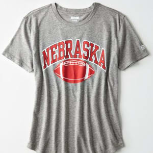 Tailgate Women's Nebraska Slub Jersey T-Shirt Gray Heather M