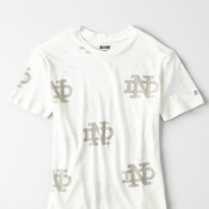 Tailgate Women's Notre Dame All-Over Graphic T-Shirt White XS