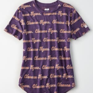 Tailgate Women's Clemson All-Over Graphic T-Shirt Purple M