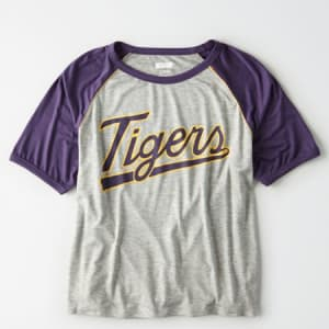 Tailgate Women's LSU Tigers Cropped Raglan T-Shirt Gray Heather M