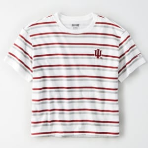 Tailgate Women's Indiana Hoosiers Cropped T-Shirt White L