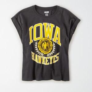 Tailgate Women's Iowa Hawkeyes Rolled Sleeve T-Shirt Bold Black XL