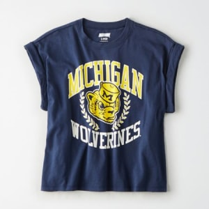 Tailgate Women's Michigan Wolverines Rolled Sleeve T-Shirt Blue M