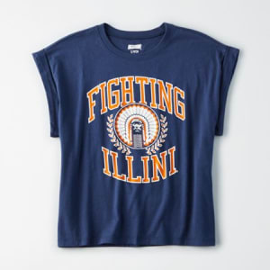 Tailgate Women's Illinois Rolled Sleeve T-Shirt Blue S