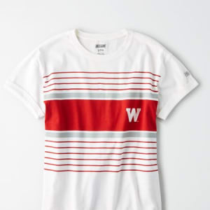 Tailgate Women's Wisconsin Badgers Rolled Sleeve T-Shirt White L
