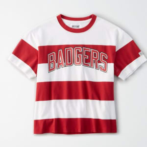 Tailgate Women's Wisconsin Badgers Striped T-Shirt White XS
