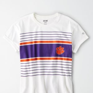 Tailgate Women's Clemson Tigers Rolled Sleeve T-Shirt White M