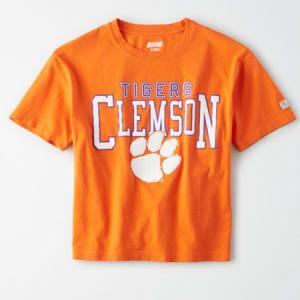 Tailgate Women's Clemson Tigers Cropped T-Shirt Orange Flare M
