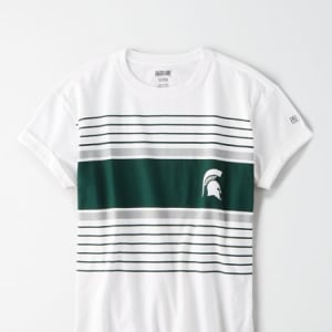 Tailgate Women's Michigan State Spartans Rolled Sleeve T-Shirt White M