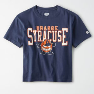 Tailgate Women's Syracuse Orange Cropped T-Shirt Blue XS