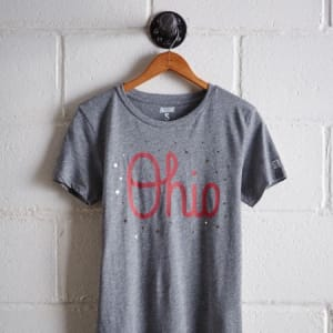 Tailgate Women's Ohio State Reflective Stars T-Shirt Gray Heather L