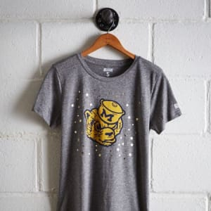Tailgate Women's Michigan Reflective Stars T-Shirt Gray Heather L