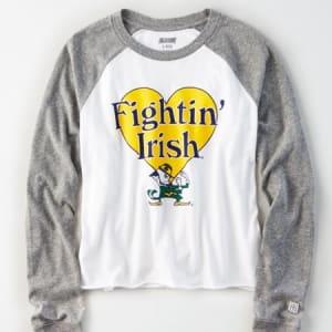Tailgate Women's Notre Dame Irish Baseball Shirt White XS