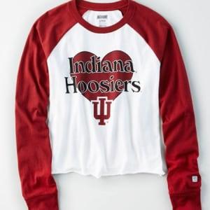 Tailgate Women's Indiana Hoosiers Baseball Shirt White XS