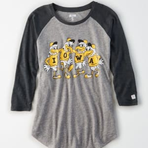 Tailgate Women's Iowa Hawkeyes Baseball Shirt Gray Heather XL