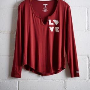 Tailgate Women's South Carolina Split Neck T-Shirt Red M
