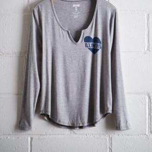 Tailgate Women's Illinois Split Neck T-Shirt Gray Heather S