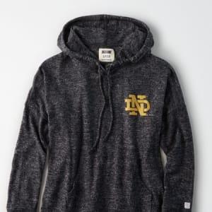 Tailgate Women's Notre Dame Plush Hoodie Charcoal M