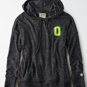 Tailgate Women's Oregon Ducks Plush Hoodie Charcoal XS