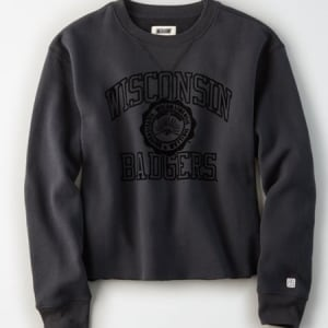 Tailgate Women's Wisconsin Badgers Cropped Fleece Sweatshirt Storm Dark S