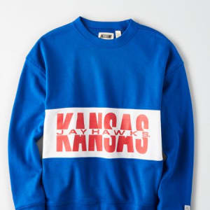 Tailgate Women's Kansas Jayhawks Colorblock Sweatshirt Classic Blue XS