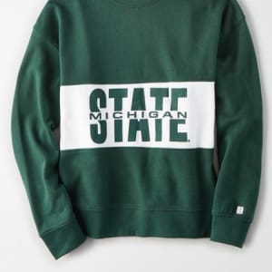 Tailgate Women's Michigan State Spartans Colorblock Sweatshirt Leaf Green M