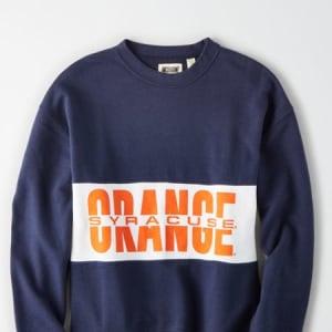 Tailgate Women's Syracuse Orange Colorblock Sweatshirt Blue XL