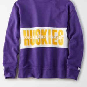 Tailgate Women's Washington Huskies Colorblock Sweatshirt Prep Purple L