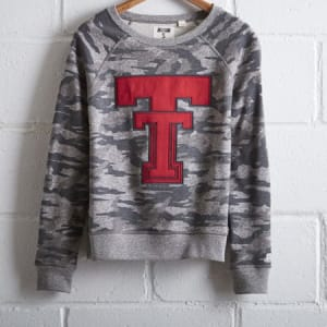 Tailgate Women's Texas Tech Camo Sweatshirt Camo Green XS