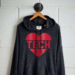 Tailgate Women's Texas Tech Plush Hoodie Charcoal XS