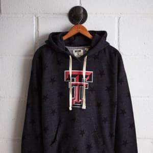 Tailgate Women's Texas Tech Terry Fleece Star Hoodie Charcoal XS
