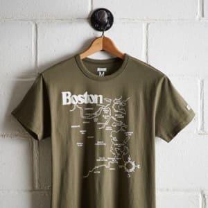 Tailgate Men's Boston Map T-Shirt Olive XS