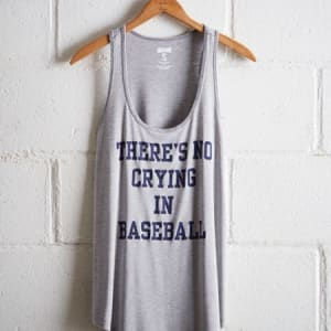 Tailgate Women's No Crying In Baseball Scoop Neck Tank Gray Heather XS