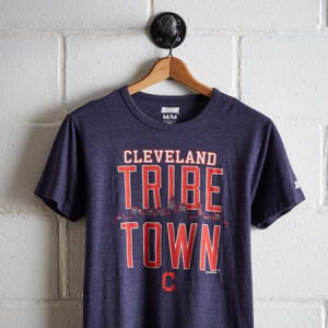 Tailgate Men's Cleveland Indians T-Shirt Navy Heather XS