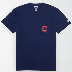 Tailgate Men's Cleveland Indians Pocket T-Shirt Blue S