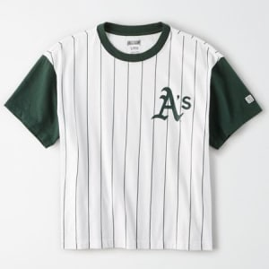 Tailgate Women's Oakland A's Cropped Pinstripe T-Shirt White S